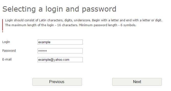 email & password