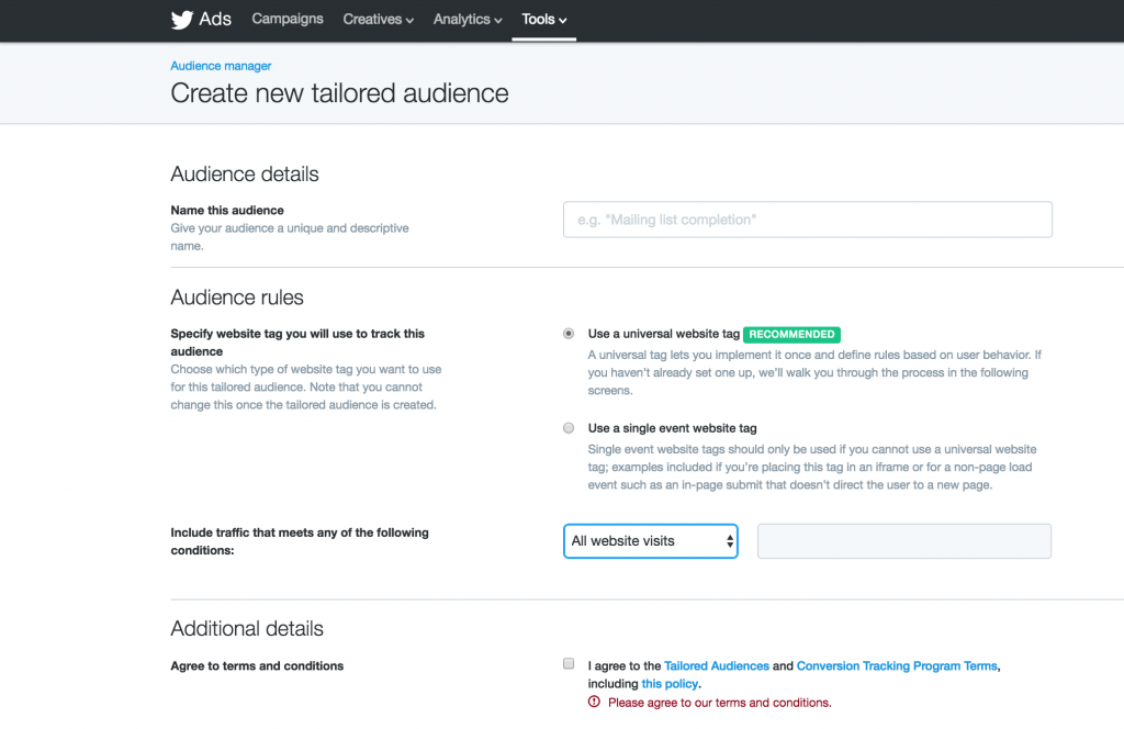New Tailored Audience For Twitter Retargeting