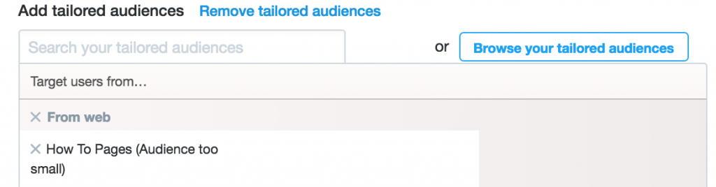 Select Your Twitter Custom Audience For Retargeting