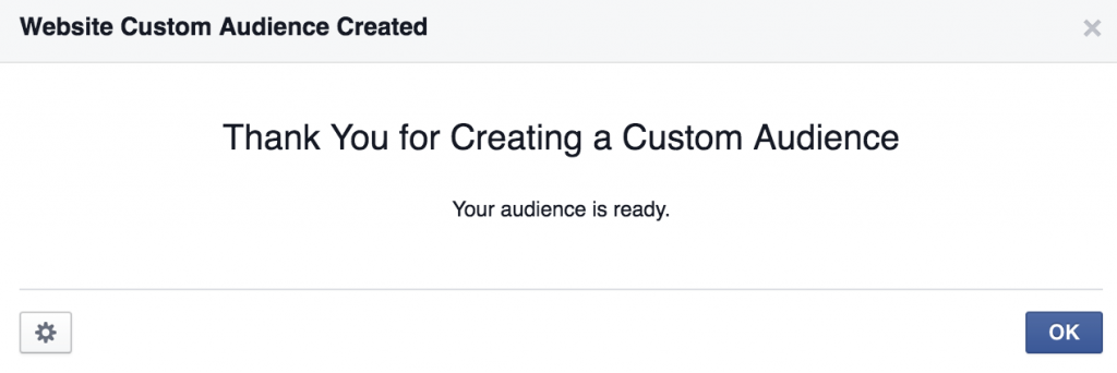 Website Custom Audience Created For Facebook