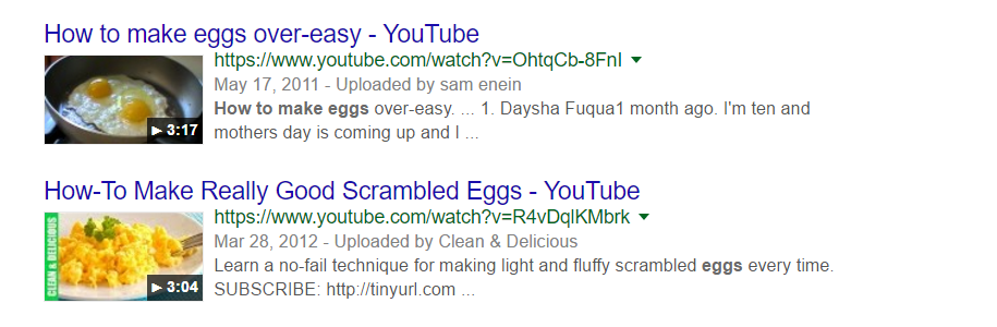 YouTube search results