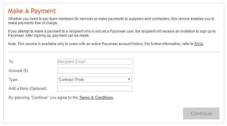 print screen of the make a payment payoneer screen