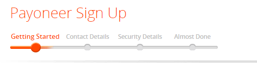 the payoneer signup form