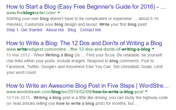 how to write a blog google serp print screen