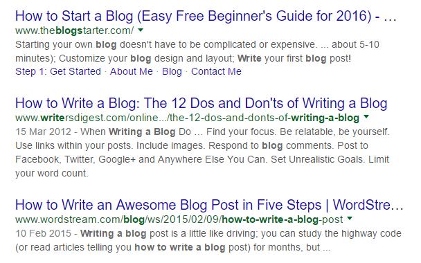 how to write a blog google serp print screen