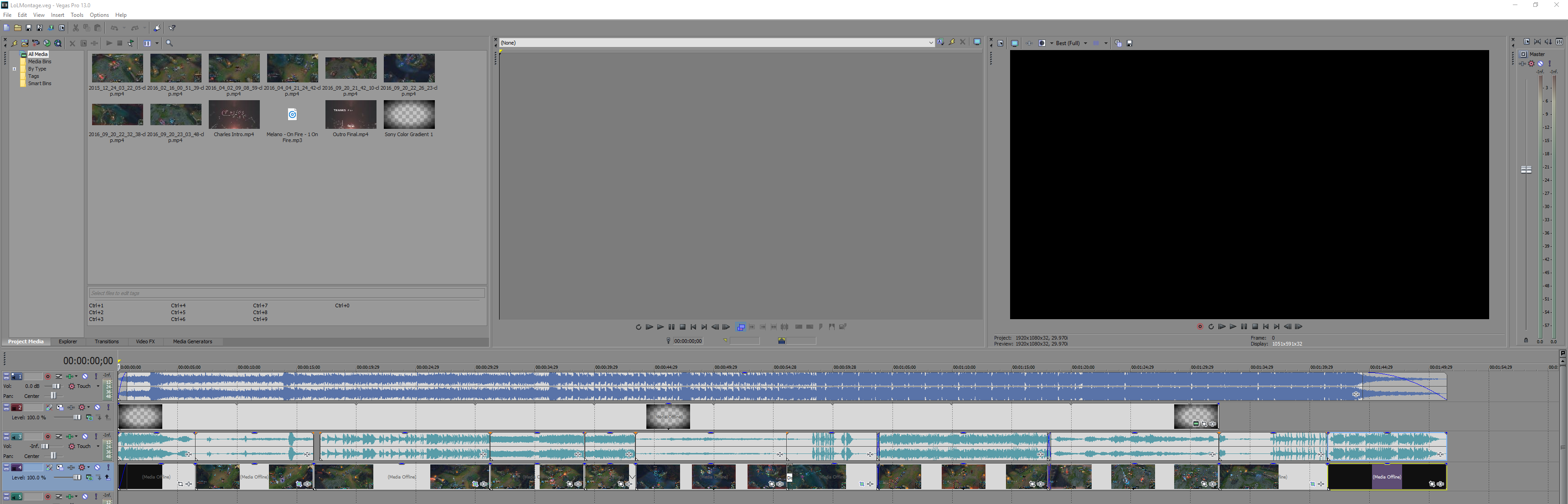 a print screen of the sony vegas pro interface.